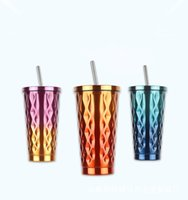 Wholesale led spoon - Stainless Steel Double Deck Cup Conical Gradient Color Coffee Cups Creative Fashion Men And Women Straw Mug 30aj C R
