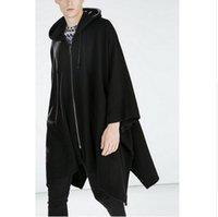 мужское пальто черное модное пальто оптовых-2016 Harajuku Gothic Clothing British Style Fashion Mens Wool Cloak Cape Long Black Hooded Trench Coat Men Windbreaker Overcoat