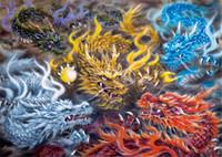 tam oda toptan satış-5d elmas nakış İğne diy elmas boyama çapraz dikiş kitleri dragons top oynarken tam yuvarlak elmas mozaik odası dekor yx1381