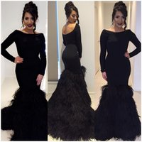 Wholesale Scalloped Sheath - Black Backless Feathers Evening Dresses Slim Mermaid Formal Prom Gown Party Dress Special Occasion Custom Made Crew Neck Long Sleeves