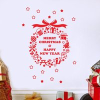 Compra Arte Di Parete Di Natale-Wall Sticker Christmas Ball murale casa Finestra di Natale Decor emovable Wall Sticker Camera del PVC di arte della decalcomania casa natale decorazione E5M1 ordine $ Tra 18no