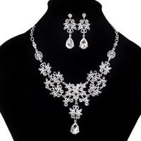 Wholesale Tin Stars Cheap - 2017 Fashion Crystal Adjustable Bridal Jewelry Sets Wedding Rhinestone Necklace Necklace Earrings Jewelry Set Cheap Wedding Accessories