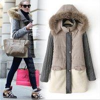 Wholesale high fashion coat for ladies - High Quality Natural Fur Collar Winter Coat Women Warm Parkas Wool Patchwork Jacket Plus Size Parkas for Women Ladies