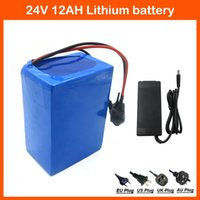 Wholesale 24v Battery Electric Bike - 24V 12AH lithium Battery 350W 24V 12AH Electric Bike Battery pack with PVC case BMS 29.4V 2A charger Free shipping