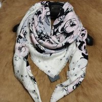 Wholesale Knit Scarves For Women - New product knitted 100% wool print rose pattern square scarf for women size 130cm *130 cm
