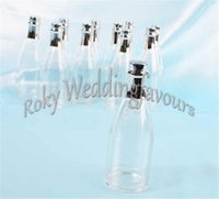 Wholesale Wholesale Plastic Favors - FREE SHIPPING 12PCS Clear Plastic Champagne Bottle Favors Birthday Party Candy Boxes Bridal Shower Anniversary Supplies
