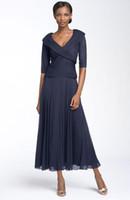 çay uzunluğu resmi elbiseler yarım kollu toptan satış-Sıcak Made Anne Gelin Elbise Ucuz Zarif V Boyun Yarım Kollu Şifon Çay boyu Resmi Akşam anne Elbise