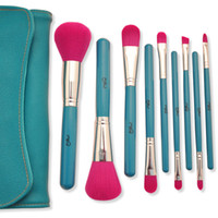 Wholesale black beauty classic - 9pcs Set Makeup Brush High Quality Soft Synthetic Hair Blue Wood Handle Classic Cosmetic Brushes Set with Bag Beauty Tool Kit