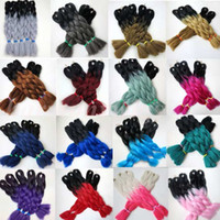Wholesale two toned xpression braiding hair online - Xpression braiding hair kanekalon synthetic Crochet Braids twist inch g Ombre Two Tone jumbo braids Synthetic Hair Extensions