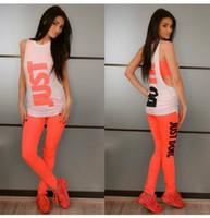 frauen orange weste großhandel-European Fashion Vest dreiteilige Printing Suit Womens setzt Sport Trainingsanzug