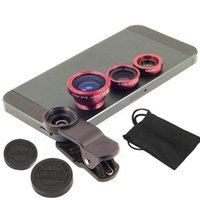 Wholesale iphone fish lens - Fish eye universal 3 in 1 mobile phone chip lens fisheye wide angle macro camera for iphone 6s plus htc samsung S6 S7
