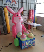 Wholesale mini inflatable balloons resale online - Accept custom come with Mini fan inflatable easter bunny outdoor or indoor decoration