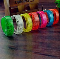 Wholesale Flashing Lights Discount - Brazil Sound Controlled LED Bracelet Promotional Discount Light Up Activated Glow Flash Unisex Bangle For Christmas Olympics