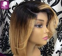 Wholesale Two Tone Cheap Lace Fronts - Cheap two tone ombre lace bob wigs Brazilian hair lace front ombre full lace human hair for black women