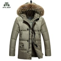 Wholesale Trench Coat Fur Hood - Wholesale- Free shipping Thicken Men's Down Jacket Leisure Winter Fashion White Duck Down Coat Fur Trench Hood Parkas 120hfx