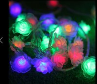 Wholesale Christmas Plug Nightlights - LED String Lighting nightlight 5M 20Led Rose Flower EU Plug Indoor Outdoor Party Wedding Christmas Fairy Decoration Light