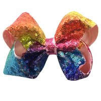Wholesale Hair Bling Girls - 4INch 5 Inch 6 INch 8 inch Rainbow Sequin Hair Bow Bling bows Hair Clip Baby Girl Rainbow Bestie Jojo Bows