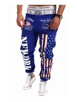 jogger sweatpants stars großhandel-Wholesale-Top Design 2016 Persönlichkeit Casual Hosen Mens Jogger American Flag Star Print Hosen Overalls Sweatpants Hip Hop Pluderhosen