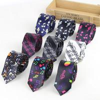 Wholesale Music Neck Ties - New Fashion Men's Slim Music Tie Piano key Guitar Music Note Necktie Designer Fashion Party Gravata Christmas Gifts