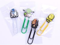 Wholesale Paper Filing Clips - Star War Clips Star Wards Solider Yoda black knight Food Postcard Clips Character Clips Files Paper Book Mark Bookmark clips Doll