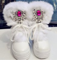 Wholesale Large Rabbit Plush - Real Rabbit Fur Winter Boots Rhinestones Diamond Fashion Snow Boots Thick Warm High-Top Women Shoes Large Size 34- 41