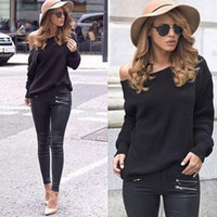 Wholesale Colored Sweater - New Pattern European Long Sleeve Round Neck Pullover Knitting Unlined Upper Garment Sweater