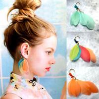Wholesale Tassel Earring Cuff Feather - Bohemian Multi-Colors Natural Feather Dangle Earrings Women's Fashion Coral Beads Tassel Ear Hook Non-Piercing Ear Cuff Wrap Clip on Jewelry