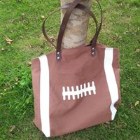 Wholesale Football Handle - Wholesale Blanks Dark Brown Cotton Canvas Football Tote Football purse with PU Handle and Magnetic Snap Closure Free Shipping DOM106292