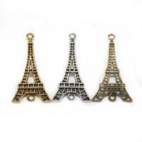 Wholesale Eiffel Tower Antique Bronze Charm - 15 pcs lot Antique Silver Golden Bronze Zinc Alloy Eiffel Tower Charms Connectors For DIY Jewelry Making