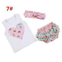 lunares camiseta infantil al por mayor-2016 bebés infantiles de verano lunares de oro conjuntos de ropa Baby Girl sin mangas del chaleco del corazón T-shirt + Headbands + Lace Ruffle Shorts 3pcs Kids Set