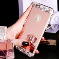 "Wholesale Silver Diamond Phone Cases - Luxury Gold Bling Glitter Diamond Soft TPU Phone Case For iPhone 7 & 7 Plus iPhone 6 6S 4.7"" Plus 5.5"" Silicone Back Cover"