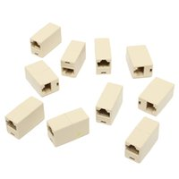 Wholesale Rj45 Cat5e Connectors - Wholesale- Universal 10Pcs RJ45 Cat5e Straight Network Cable Ethernet LAN Coupler Joiner Female To Female Connector Best Promotion