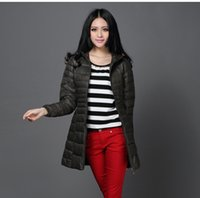 Wholesale Thin Down Coats For Women - Wholesale-Down & parka jackets for women inverno plus size light thin long feminine feather coat SP050