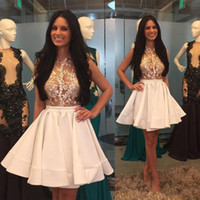 Wholesale Halter Top Club Dresses - Mini Short Little White Homecoming Dresses 2017 Newly High Neck Sheer Appliques Top Puffy Skirt Pretty Graduation Cocktail Party Dresses