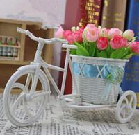 ingrosso piano vasi fiori artificiali-Triciclo Piano vaso di fiori Bow Rattan Triciclo Fiore Artificiale Vaso Fiori Cesto Decorazioni Trasporto di Goccia,
