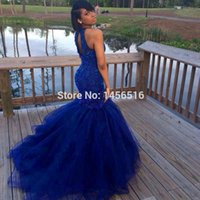 Wholesale Indian Style Evening Dresses - Royal Blue Prom Dresses 2017 Sexy Back Mermaid Style Hard Beadings Evening Party Gowns Indian Wholesale Vestido De Festa For Women Special