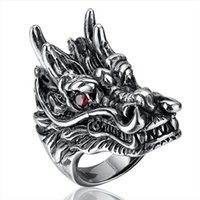 Wholesale 316l Stainless Steel Dragon - New Top Quality Titanium Steel Rings Finger Dragon Head Punk Style 316L Stainless Steel For Men Ring Party Birthday Jewelry