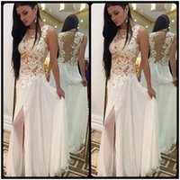 Wholesale Side Slit Bodice Dress - Fashion Scoop Neck Appliques Lace Beaded Chiffon White Beach Wedding Dresses 2016 Vestidos De Novia Para Playa Court Train With Split Slit