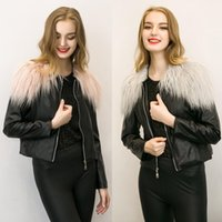 Wholesale Hot Pink Faux Fur Coat - 2017 Sell like hot cakes Women's PU Leather outerwear Jacket Autumn Winter Coats Short Zipper Slim Fit With Faux Fur Collar Plus Size 3XL