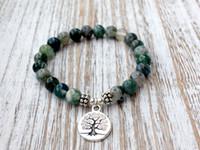 contas de ágata budista venda por atacado-SN1072 genuína musgo pulseira de ágata moda yoga pulseira de pulso mala beads árvore da vida cura pulseira pedra natural budista jóias