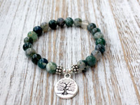 Wholesale Beads Nature Stone - SN1072 Genuine Moss Agate Bracelet Fashion Yoga Bracelet Wrist Mala Beads Tree of Life Healing Bracelet Nature Stone Buddhist Jewelry