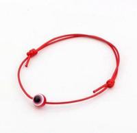ingrosso braccialetti fortunati cinesi di fascino-Liberi la nave 100pcs Hamsa String Evil Eye Braccialetto regolabile rosso nodo cinese fortunato