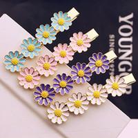 Wholesale Macaron Jewelry - Hairpin Korean Macaron color sweet little daisy flower hairpin clip bangs Polygonal Flower Hair Accessories Clips Hairwear Hair jewelry