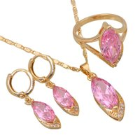 Wholesale Pink Cz Stone - Wholesale & Retail Fashion Pink CZ Morganite stones 18K Gold Plated Pendants Earring ring Jewelry Set size 6 7 8 9 10 S056