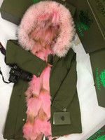 Wholesale Dogs Wool - pink fur army green long coats Mr & Mrs Italy Raccoon And Coyote Fur Jacket Mr Mrs furs canvas parka