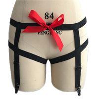 Wholesale Sexy Prom Underwear - Sexy Elastic Black Hip Garter Belt Red Ribbon Bondage Lingerie Pole Dance Prom Dresses Underwear P0122