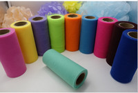 Wholesale Table Skirts Wholesale - 6 Inch 25 Yards High Quality Colorful Tulle Roll Girl's Tutu Skirt Tulle Fabric Spool Party Birthday Wedding Wedding Decoration