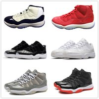 Wholesale White Lace Rhinestone Shoes - retro 11 midnight navy all red concord Space Jam 11s basketball shoes low barons sneakers bred legend gamma blue sports shoes men women