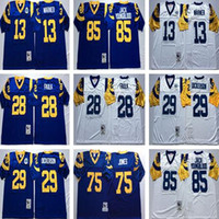 Wholesale blue marshall - Throwback 85 Jack Youngblood Jersey Men 13 Kurt Warner 28 Marshall Faulk 29 Eric Dickerson 75 Deacon Jones Jersey Blue White