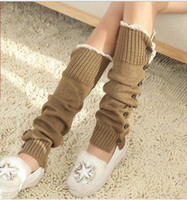 Wholesale Korean Wholesale Socks - The 2016 New South Korean wool knitted Leggings Leggings set loose stockings female fashion warm foot set button piles of socks